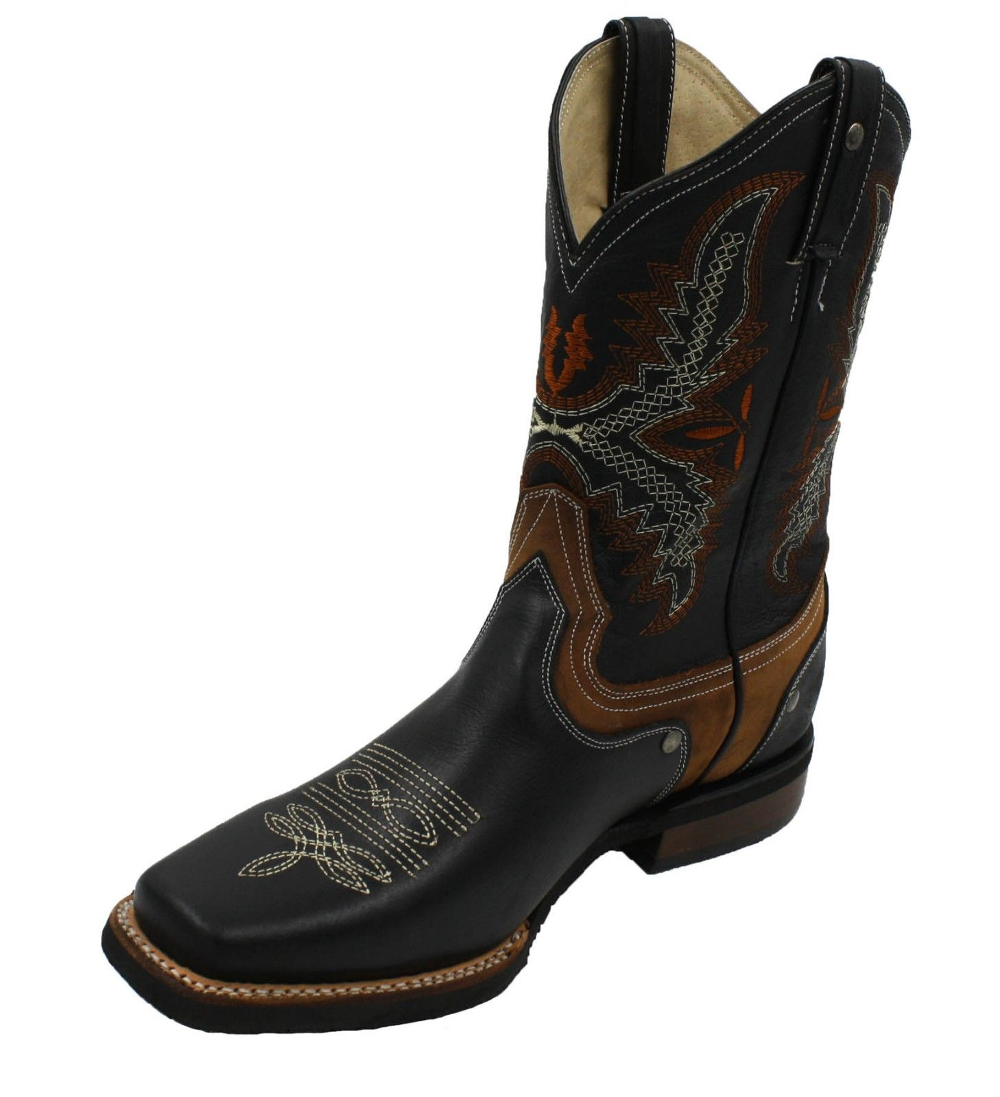 99ec7fba66b MEN'S RODEO COWBOY BOOTS GENUINE LEATHER WESTERN SQUARE TOE BOOTS-940