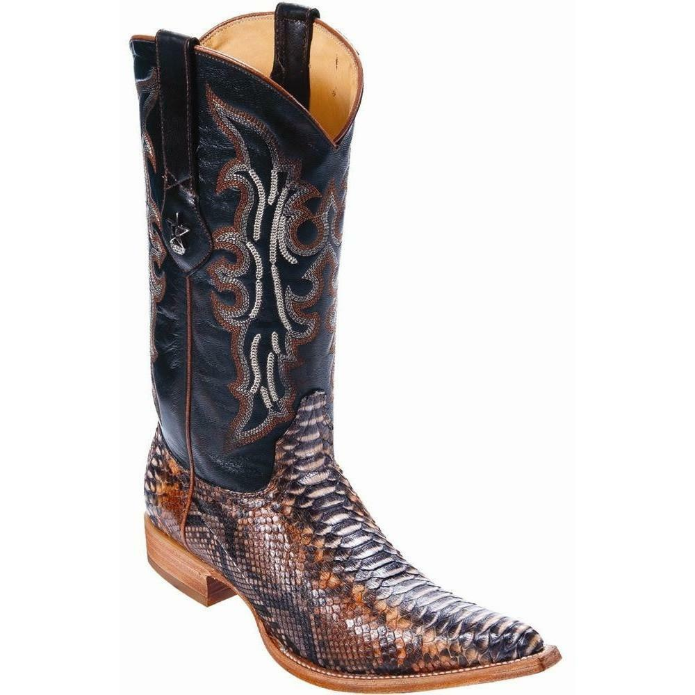 Men/'s Wild West Rustic Cognac Python Wide Square Toe Boots Handcrafted