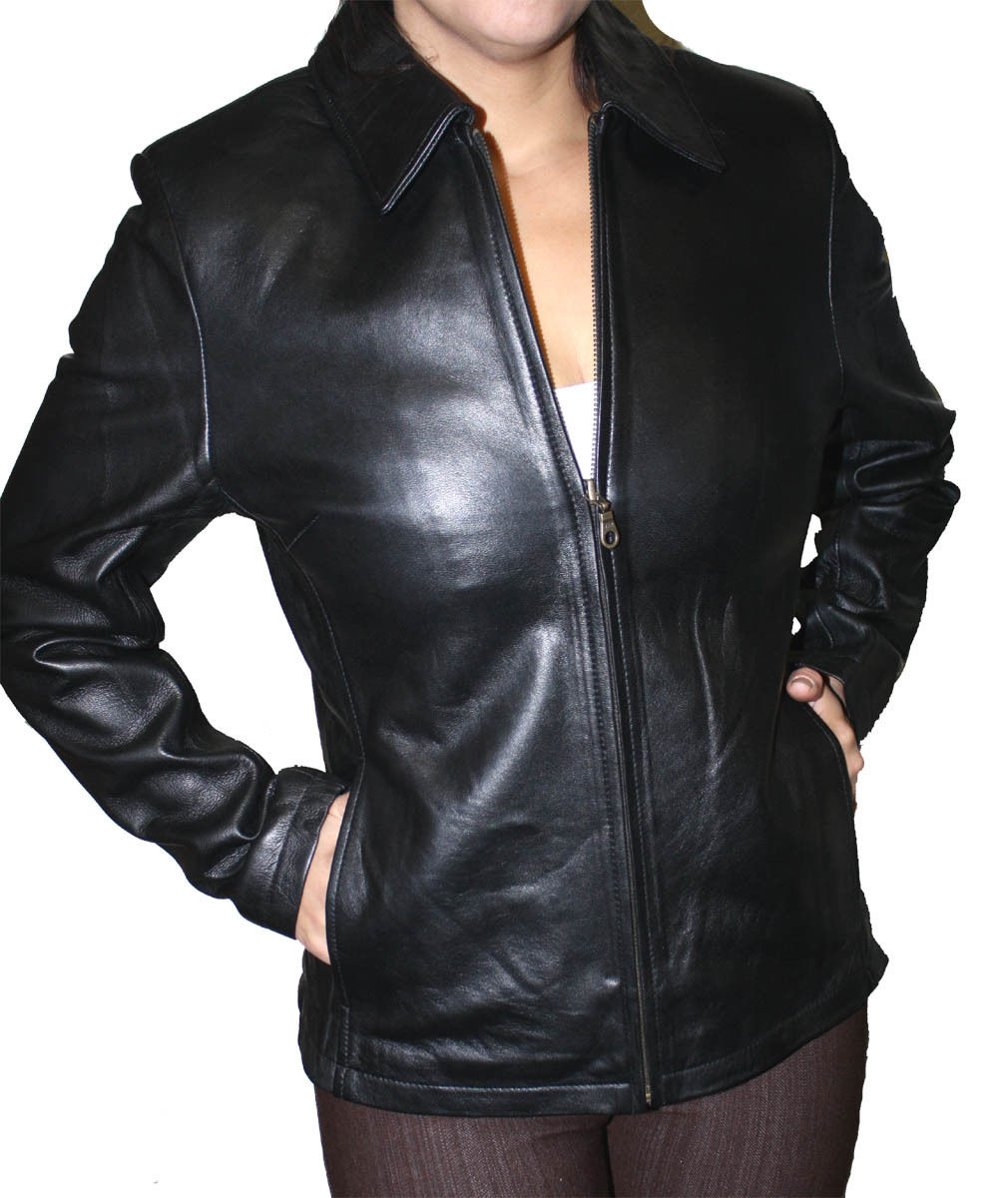 Women S Zipper Leather Jacket Lamb Skin Style 673 Dona