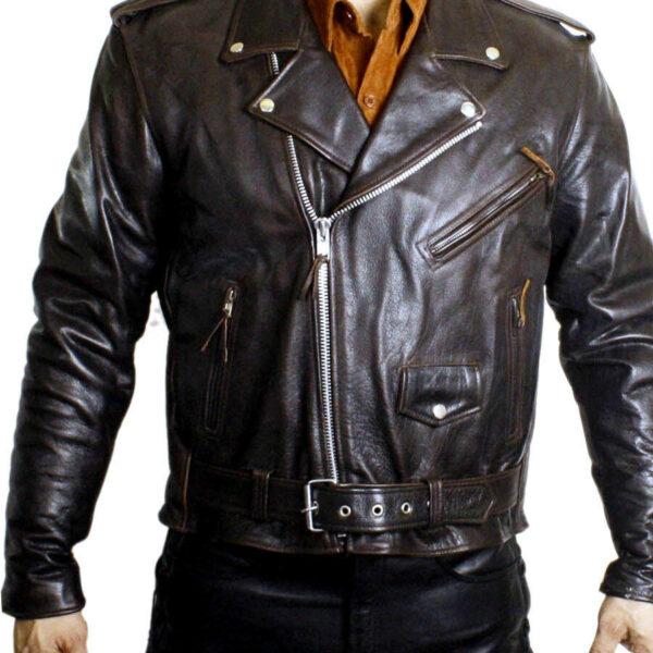 Men's Genuine Leather Brown Color Half Belted Classic Motorcycle Biker Jacket