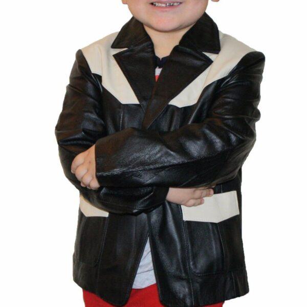 Kids Boys Genuine Leather Jacket Outerwear Buttons Blazers