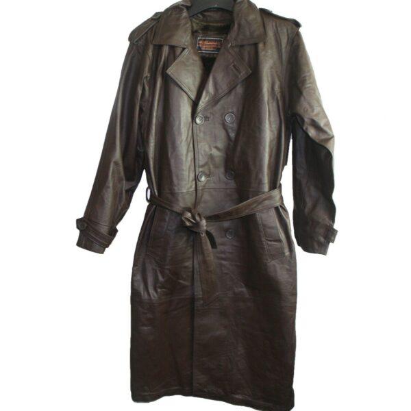 Men Leather Trench Coat