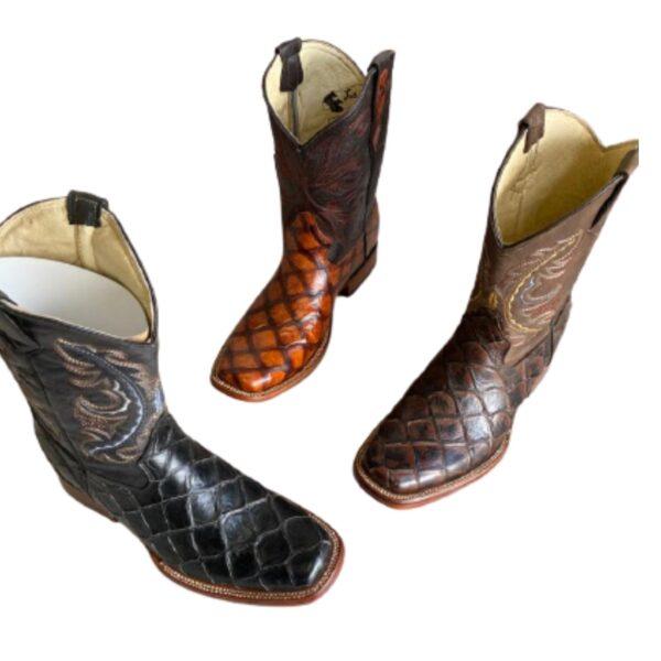 Men Fish Print Cowboy Boots